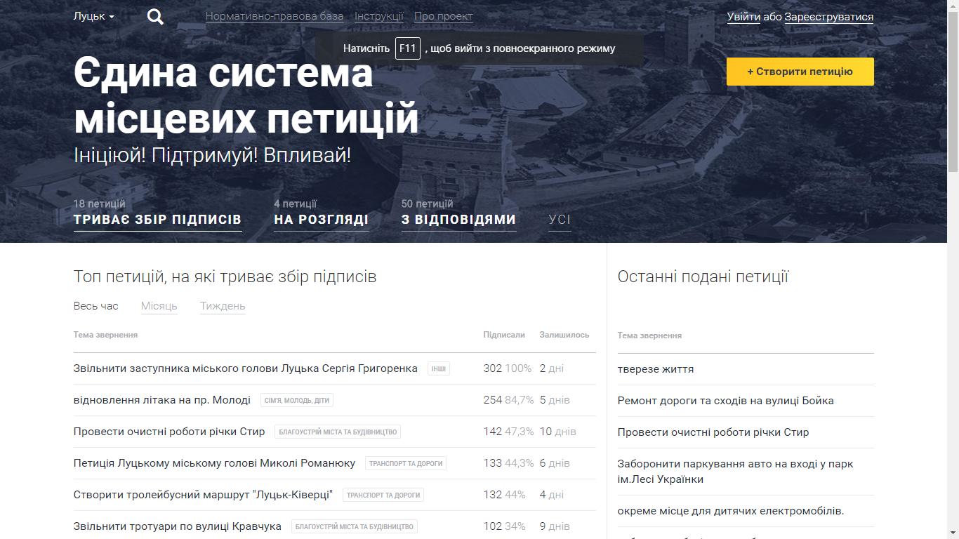 В трьох обласних центрах Західної України не має електронних петицій