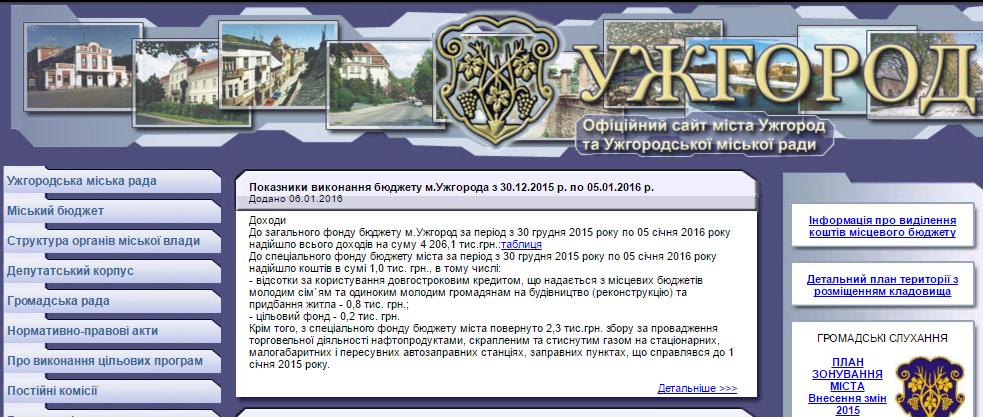 Старий сайт Ужгородської міської ради
