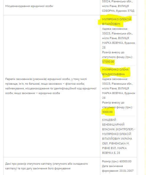 """Відомості з ЄДР ТзОВ """"Сталь-М"""", на внесені в декларацію"""