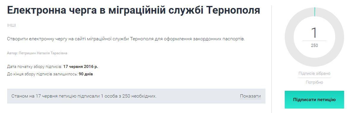 У Тернополі для оформлення закордонних паспортів пропонують створити електронну чергу
