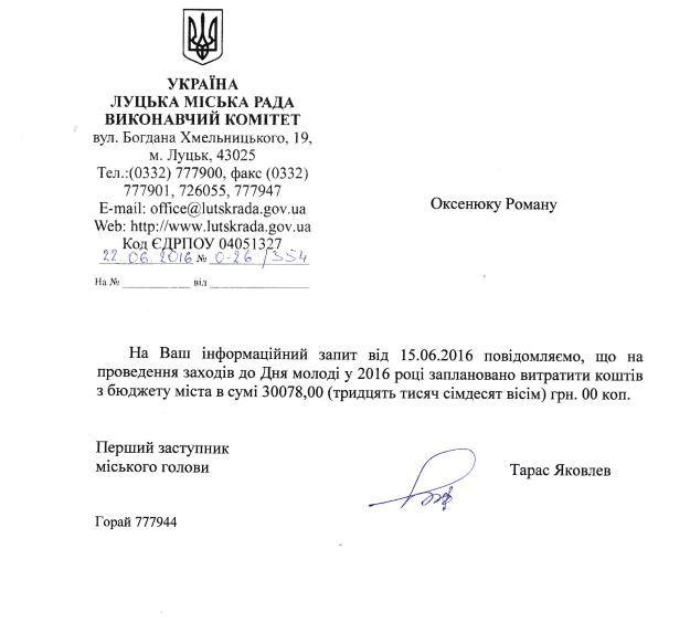 """Сколько потратили из бюджета Луцкого городского совета на """"День молодежи""""?"""