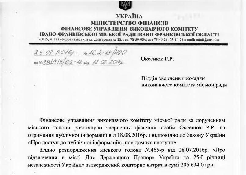 у скільки обійшлося святкування дня Незалежності для Івано-Франківська