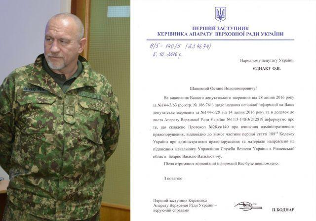судитимуть начальника управління СБУ в Рівненській області Василя Бедрія