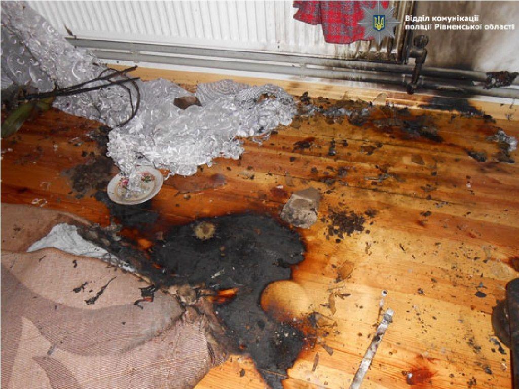 На Рівненщині в будинок кинули запальну суміш (Фото)