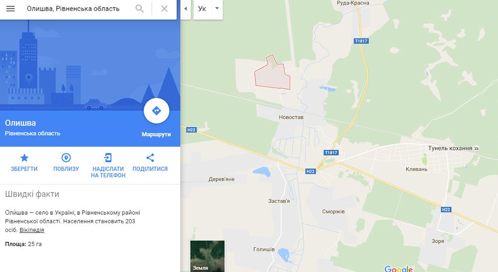 У Олишві офіційно проживає 203 особи. Скріншот мапи з сервысу Google Maps