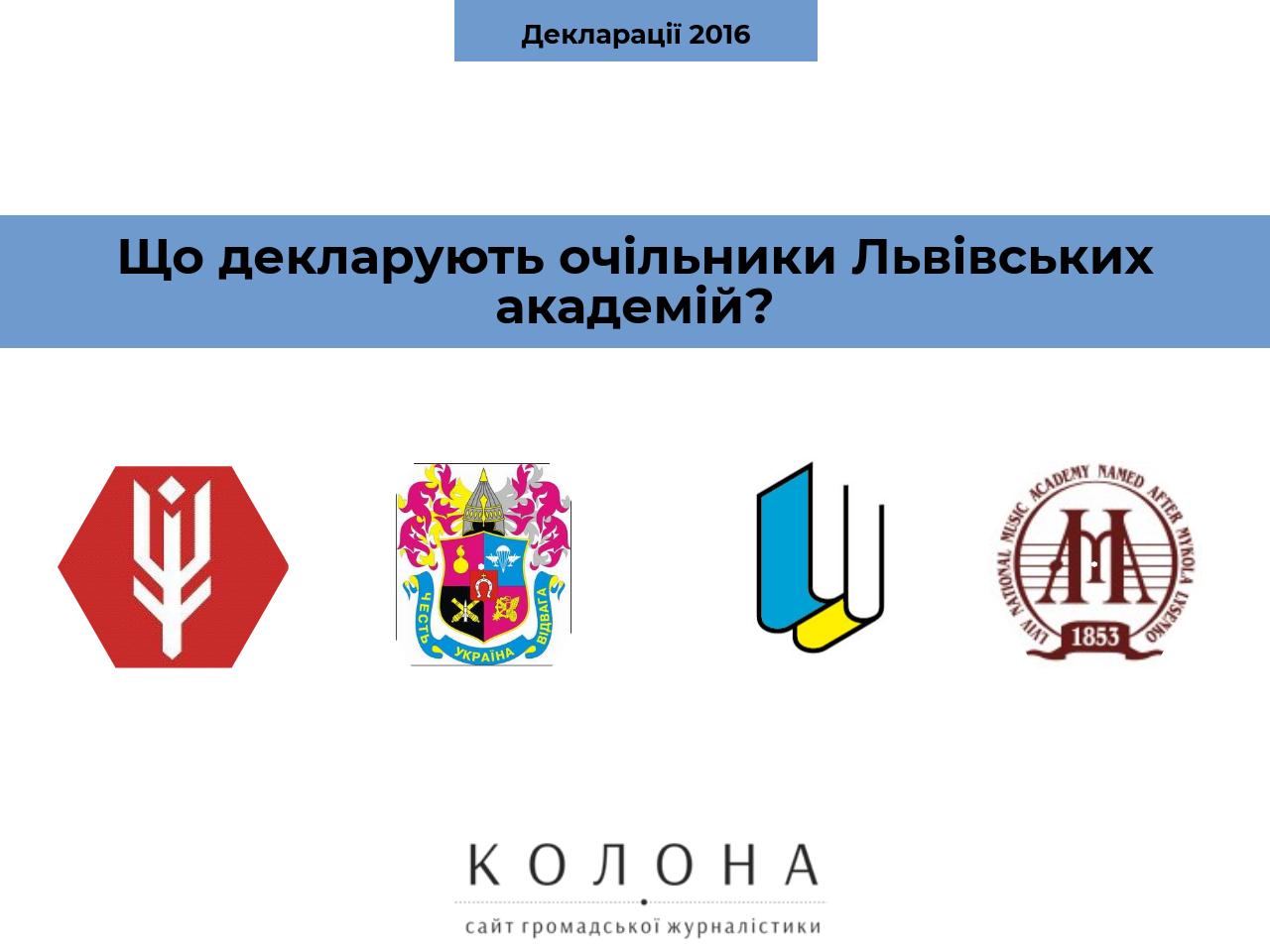Статки та доходи очільників Львівських академій