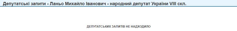 Михайло Ланьо депутатські запити